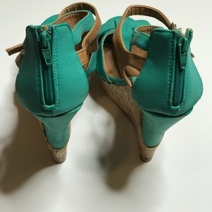 Charlotte Russe Shoes - Charlotte Russe Teal Wedge Sandals Size 8